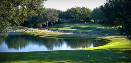 One of the golf holes at the Hyatt Hill Country Resort