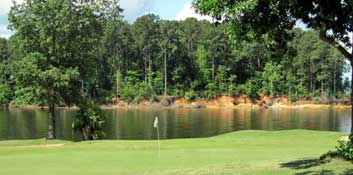 A lot of the holes play along Toledo Bend Lake