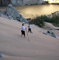 Down the dunes at Boquilas Canyon