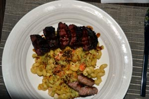 the lobster Mac & Cheese with skirt steak