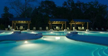 Traditions Club pool at night