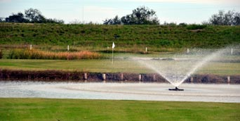 Island green at Llano Grande Golf Course