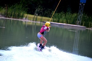 She's up and wakeboarding