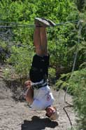 John John  clowning around on the practice zipline