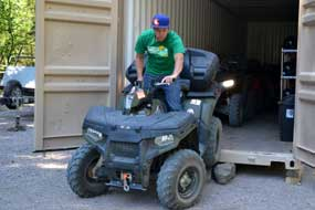 Alex bringing out our ATV
