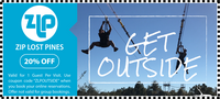 Zip Lost Pines zipline coupon/discount