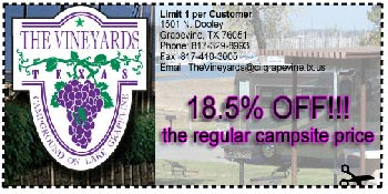 Camping Coupon at the Vineyards Campground