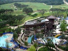 View of the water park from one of the suites at the JW Marriott Resort & Spa in San Antonio