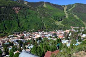 View of Telluride and the ski area