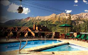 The pool and view at Mountain Lodge at Telluride