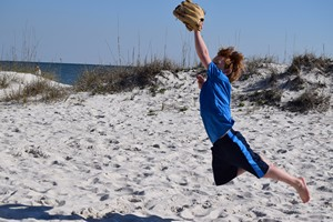 Playing catch  on the beach