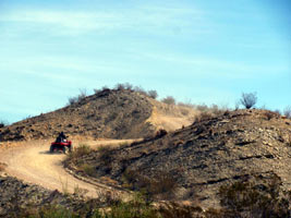 Heading up the hill on ATV at Lajitas