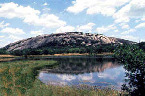Enchanted rock is near Fredericksburg, Texas