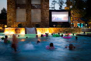 Watching movies in the Pool