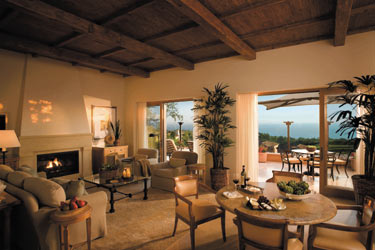 Living room in one of the Villas at Pelican Hill