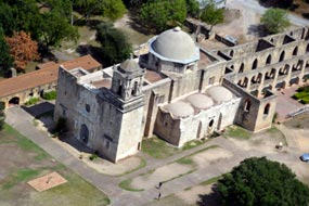 Flying over a historic mission in San Antonio