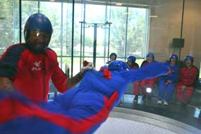 A little help from an instructor to skydive at iFly