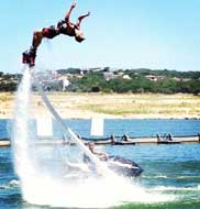 Here we go for a flyboarding flip