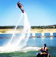 Getting ready for a flyboarding flip