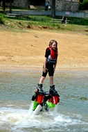 Up she goes flyboarding