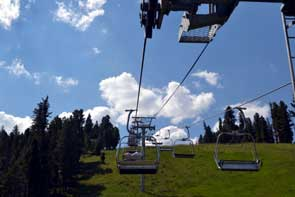 Riding up the Red River Chairlift