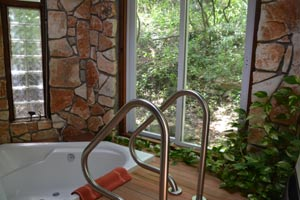 The beautiful outside bathroom and shower