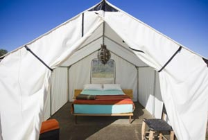 Safari tent rental in Marfa