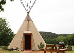 Reservation on the Guadalupe River tipi lodging