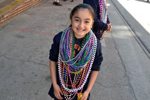 Lots of beads at Mardi Gras
