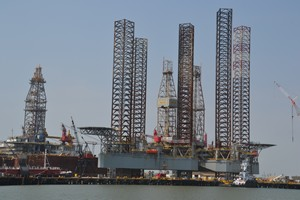 Offshore oil rigs in for service
