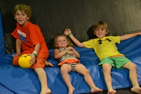 The kids at the trampoline park