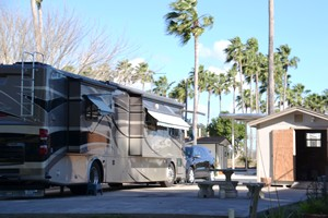 a campsite at River Bend RV Resort