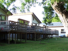 Decks overlooking the Guadalupe River