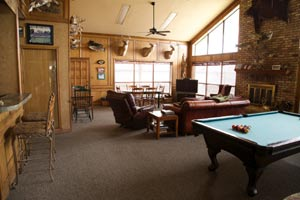 Game room at Lake Fork Lodge