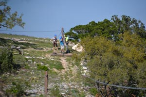 the first zipline at Helotes Hill Country Zipline