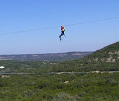 Wimberly Zipline Advertures - flying across the valley