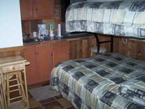Beds in one of the cabins at Lazy L&L