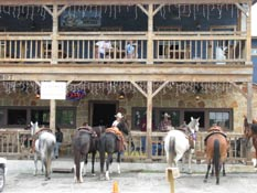 Horses parked at one of the local Bandera bars