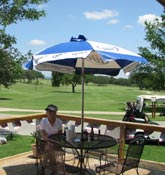 Lunch on the deck at the pro shop at Flying L Guest Ranch
