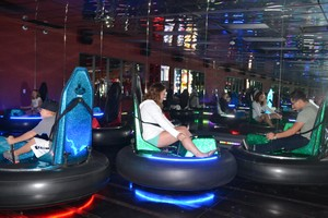 Bumper cars at PINSTACK