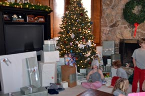 A living room stuffed with presents