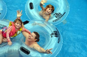 tubing the lazy river at Schlitterbahn