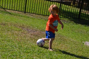 Cole practicing his fancy soccer  foot work
