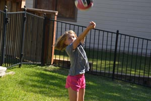 Practicing volleyball